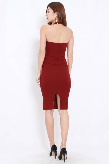High Neck Midi Dress (Maroon)