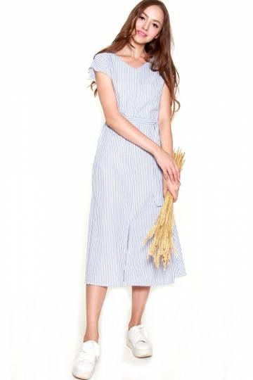 9436 STRIPED MIDI DRESS WITH TIE BELT