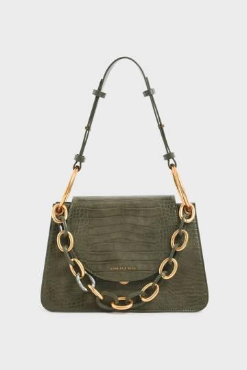 Croc-Effect Chunky Chain Link Shoulder Bag
