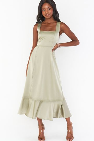 Claire Midi Dress ~ Moss Green Luxe Satin