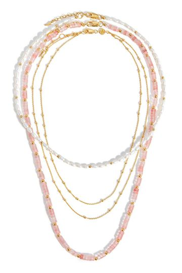 Seed Pearl & Beaded Chain Necklace Set