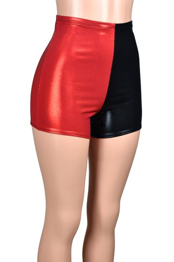 High-Waisted Red and Black Metallic Harley Quinn Shorts
