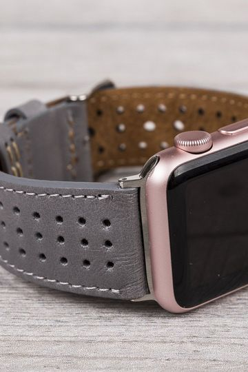 Gray Perforated Leather Band for Apple Watch