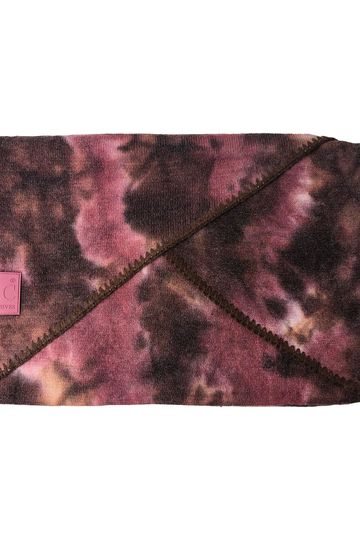 SF-7380 Tie Dye Scarf with C.C Rubber Patch - Brown/Wild Ginger