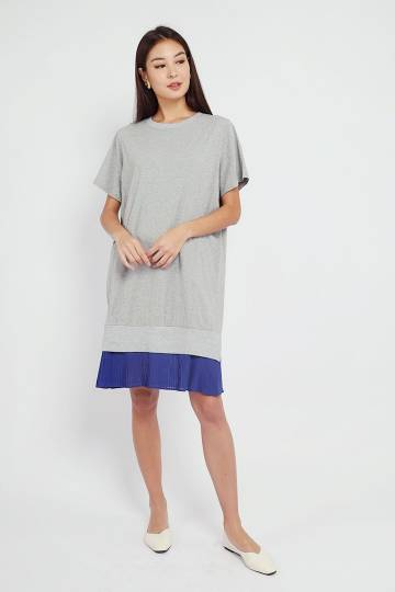 Fion Pleated Dress in Grey Blue