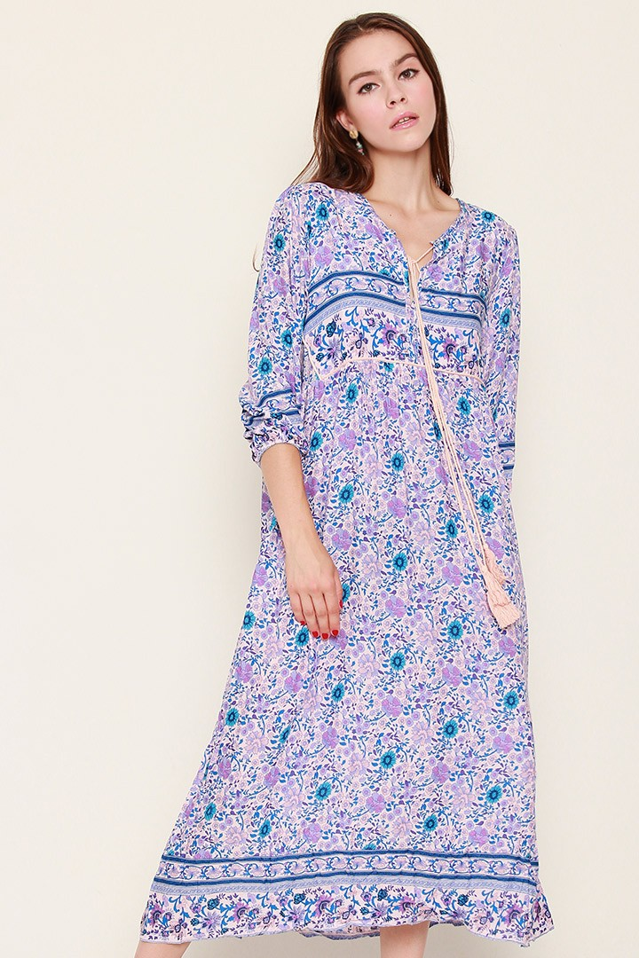 Daisy Boho Printed Dress in Purple