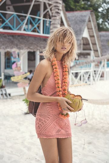 """Coral Crochet Dress """"Palm Springs"""" Halter Neck Peach Festival Mini Swimsuit Cover Up One Size"""