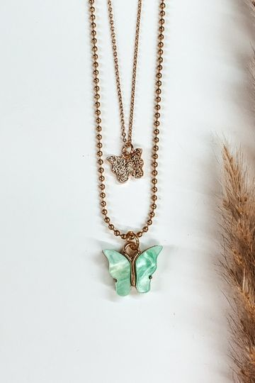 Double Layered Butterfly Gold Necklace in Mint