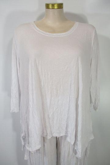 Chalet - Recycled Crinkle White 3/4 Sleeve Mackenzie Asym Top