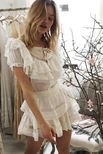 ANGELCORE RUFFLE SHORT SLEEVE LACE WHITE MINI DRESS