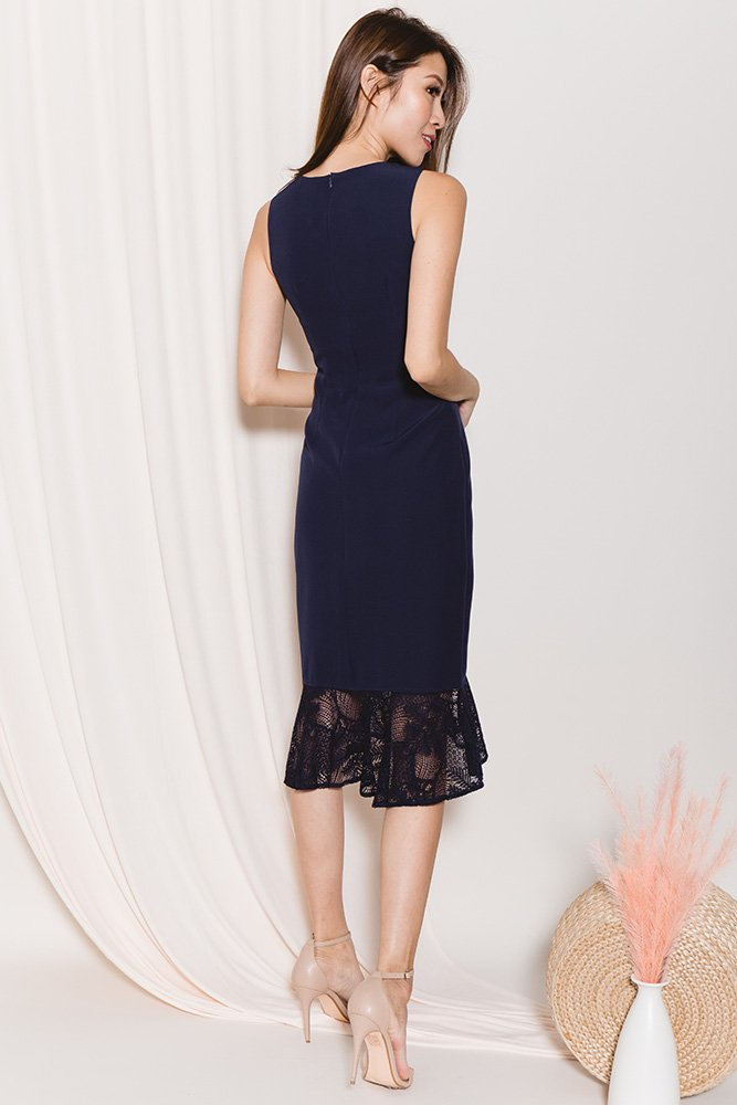 Angelica Fluted Lace Hem Dress (Navy)