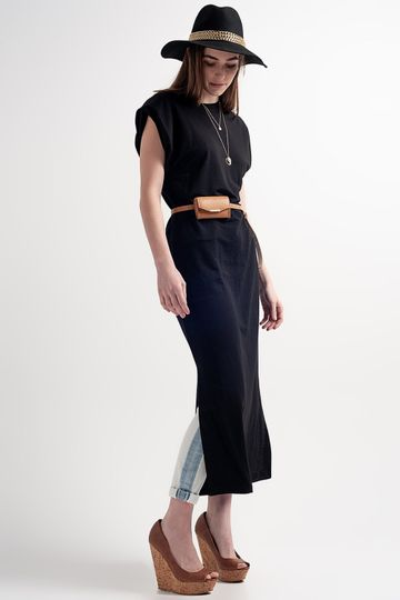Midaxi Dress With Shoulder Pads