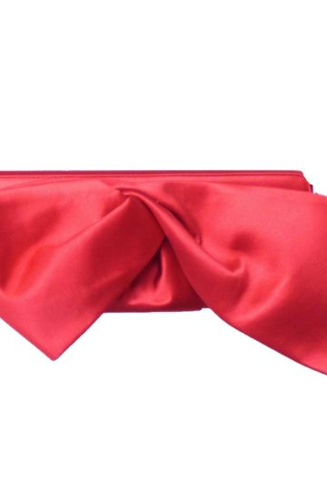 CHRISTIAN LOUBOUTIN-Red Satin Bow Clutch