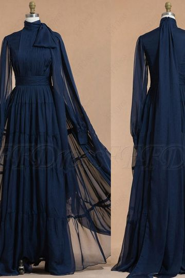 High neck modest navy blue bridesmaid dresses long sleeves with tiered skirt