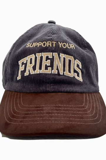 SUPPORT YOUR FRIENDS HAT - CORDUROY CHARCOAL