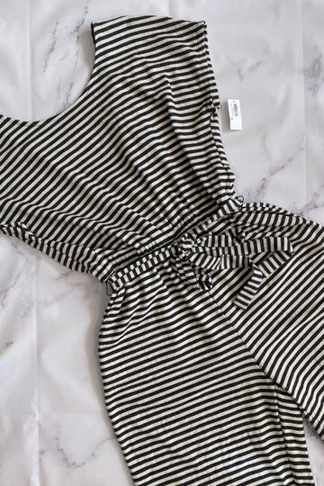 Old Navy gray and cream striped romper size M NWT