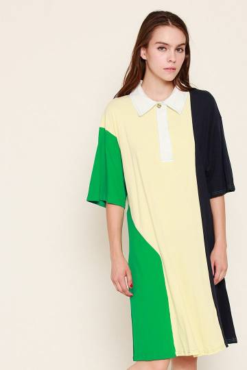 Aka Polo Tee Dress in Yellow Green Blue
