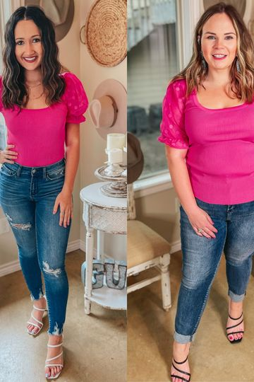 Deja Vu Ribbed Fitted Blouse with Polka Dot Mesh Puff Sleeves in Hot Pink