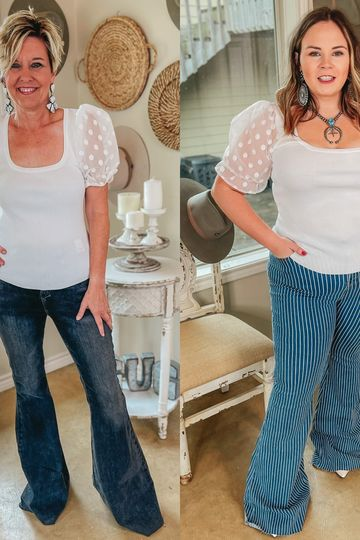 Deja Vu Ribbed Fitted Blouse with Polka Dot Mesh Puff Sleeves in Ivory