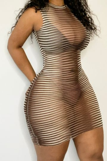 Painted On Mesh Dress
