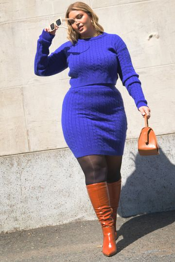 """Rebdolls """"Now You Know"""" Cable Knit Bodycon Mini Skirt - Royal Blue"""