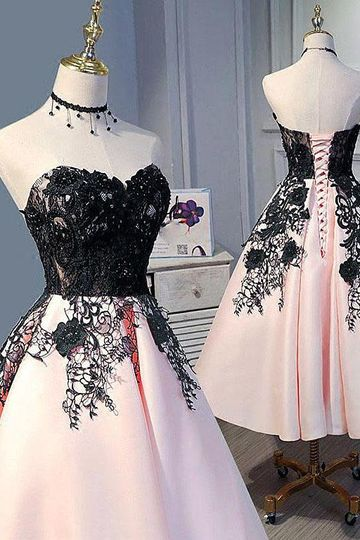 Cute Pearl Pink Sweetheart Tea Length Satin Homecoming Dress With Black Lace Applique OKZ55
