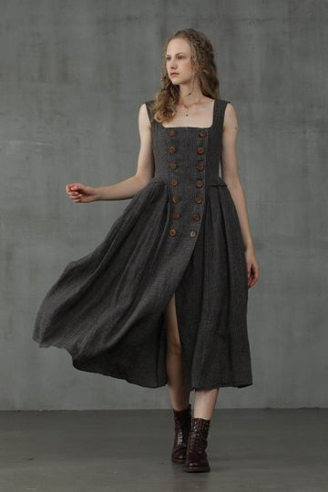 Agarwood 16 | Double Breasted Linen Dress