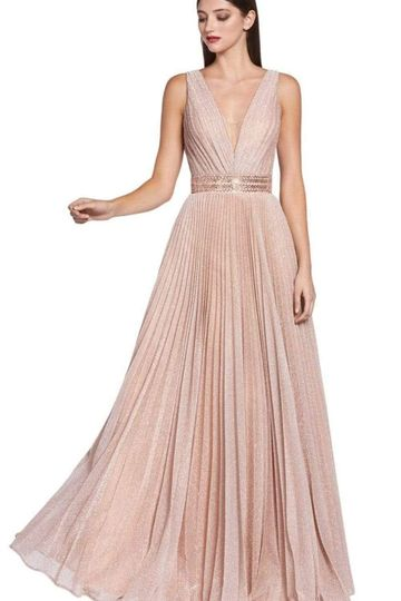 Cinderella Divine - CM9086 V Neck Pleated Metallic Finish A-line Dress - 1 pc Dusty Rose In Size 4 Available