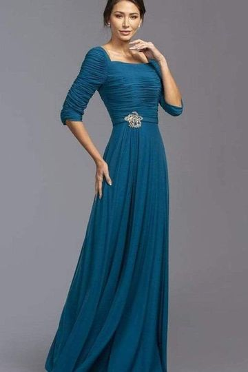 Aspeed Design - Square Neck Shirred A-Line Dress M2195 - 1 pc Teal In Size M Available