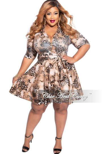 New Plus Size Long Sleeve Button Up Skater Dress with Attached Tie in Rust & Black Animal Print