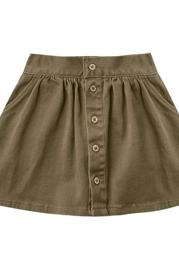 Rylee and Cru Olive Olive Button Front Mini Skirt