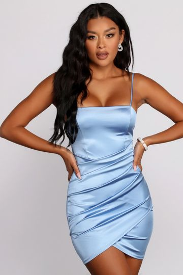 PLACEHOLDER - Wrapped In Stylish Satin Mini Dress