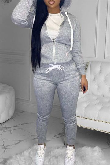 Solid Color Zipper Front Hooded Top with Drawstring Pocketed Pants Sets