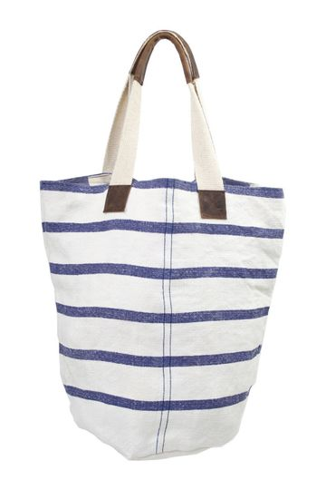 French Linen Blue Striped Bucket Tote