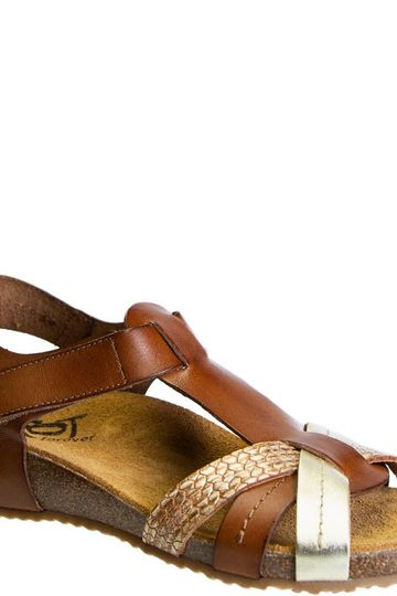 JEANETTE in RICH BROWN Wedge Sandals