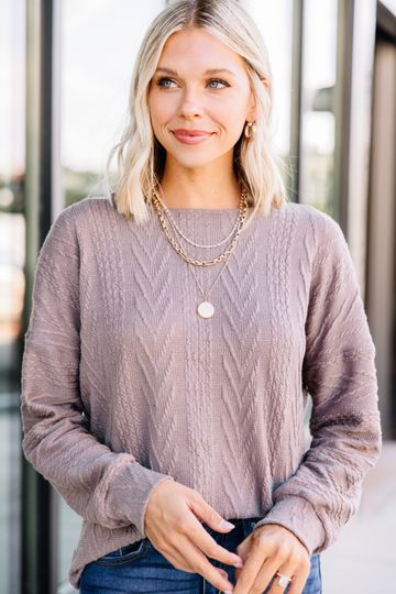 The Slouchy Mushroom Brown Cable Knit Top