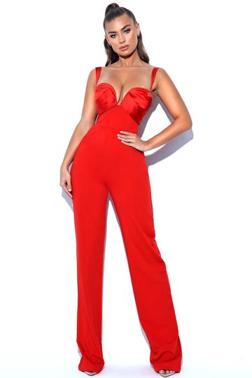 Onika Red Satin and Crepe Jumpsuit