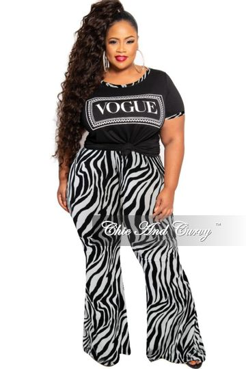 New Plus Size 2-Piece Vogue Top and Bell Bottom Pants Set in Black and White Zebra Print