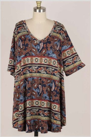 20 PSS-A {Set Your Tone} Navy Paisley Short Sleeve Top EXTENDED PLUS SIZE 3X 4X 5X