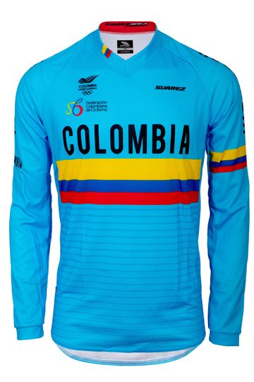 2020 Colombian Federation Relaxed Fit Long Sleeve Cycling Jersey in Blue by Suarez