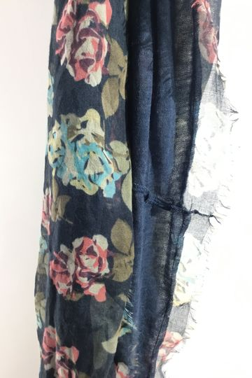 Blue & Floral Infinity Scarf
