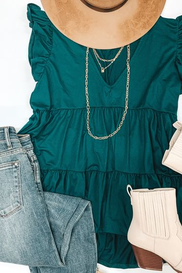 Make Your Debut Ruffle Tiered V Neck Top in Emerald Green