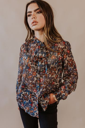 Korner: Bound to Bloom Long Sleeve Button-Up Top