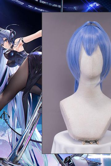 【Pre-sale】Uwowo Game Azur Lane New Jersey Bunny Suit Cosplay Wig 110cm Ponytail Blue Hair