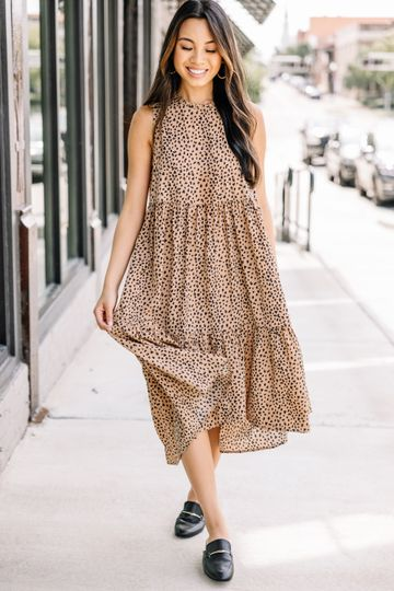Always Bold Taupe Brown Spotted Midi Dress