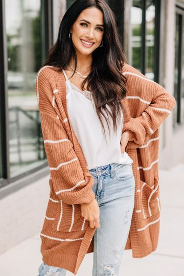 This Is The Answer Camel Brown Striped Cardigan
