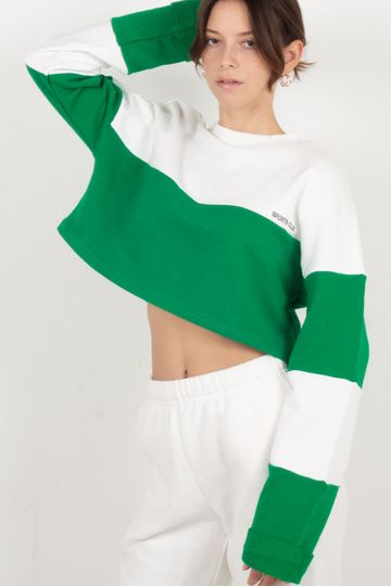 The Team Player Crop Jumper - White/Kelly Green