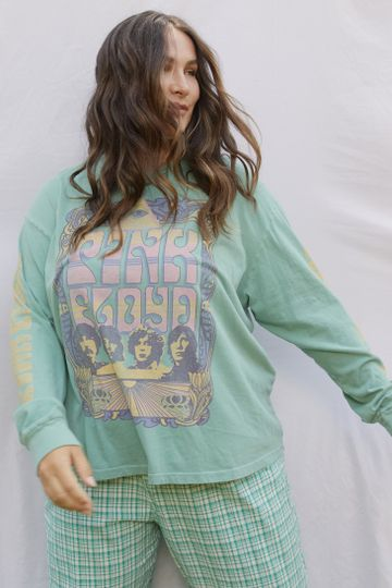 DAYDREAMER - Pink Floyd Eye Poster Oversized Long Sleeve Tee - Washed Teal