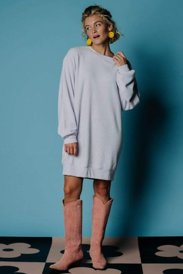 The Other Side Oversized Sweatshirt Dress in Lilac