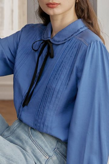 Laurel Embroidery Peter Pan Collar Pleated Blouse